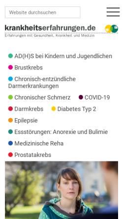 Vorschau der mobilen Webseite krankheitserfahrungen.de, Krankheitserfahrungen.de