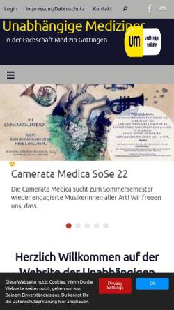 Vorschau der mobilen Webseite um-goe.de, Unabhängige Mediziner Göttingen e.V.