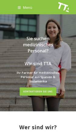 Vorschau der mobilen Webseite www.tta-personalmedizin.de, TTA Personal GmbH