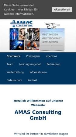 Vorschau der mobilen Webseite www.amas-consulting.de, AMAS Consulting GmbH - Dr. med. Franz Szálasi