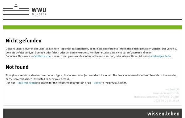 Vorschau von www.uni-muenster.de, Arbeitsmedizinischer Dienst der Westfälischen Wilhelms-Universität Münster