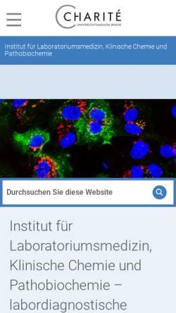 Vorschau der mobilen Webseite ilp.charite.de, Institut für Laboratoriumsmedizin, Klinische Chemie und Pathobiochemie (ILP) der Charite Berlin