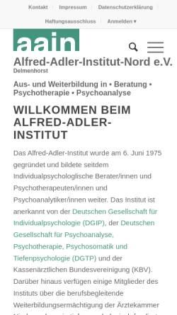 Vorschau der mobilen Webseite www.aain-delmenhorst.de, Alfred-Adler-Institut-Nord e.V.
