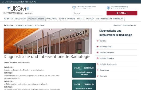 Vorschau von www.ukgm.de, Marburg - Klinik für Diagnostische und Interventionelle Radiologie des Universitätsklinikums
