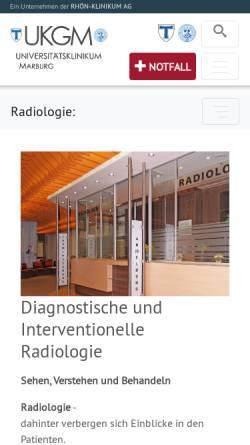 Vorschau der mobilen Webseite www.ukgm.de, Marburg - Klinik für Diagnostische und Interventionelle Radiologie des Universitätsklinikums