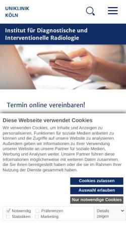 Vorschau der mobilen Webseite radiologie.uk-koeln.de, Köln - Institut für Diagnostische und Interventionelle Radiologie der Universität