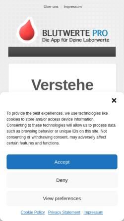 Vorschau der mobilen Webseite laborwerte-app.de, Conzappt GbR