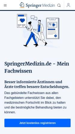 Vorschau der mobilen Webseite www.springermedizin.de, Springer Medizin - Das Fachportal für Ärzte