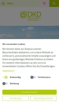 Vorschau der mobilen Webseite www.jh-del.de, Klinikum Delmenhorst