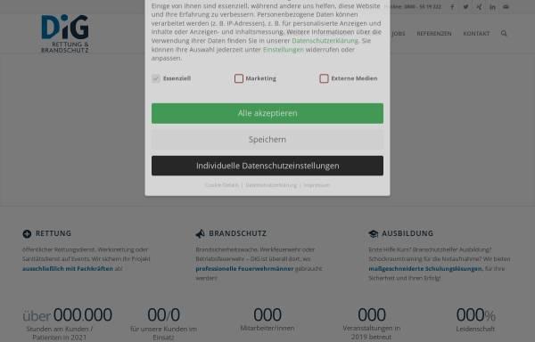 Vorschau von www.dig-sanitaetsdienst.de, DiG GmbH – Rettung & Brandschutz