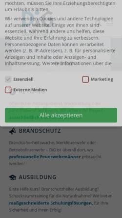 Vorschau der mobilen Webseite www.dig-sanitaetsdienst.de, DiG GmbH – Rettung & Brandschutz