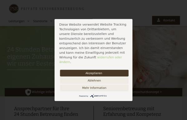Vorschau von www.psb-deutschland.de, Private Seniorenbetreuung Deutschland Christian Bohl und Jens Lüeße GbR