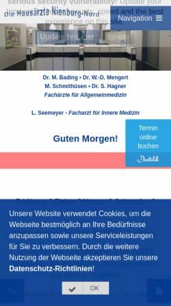Vorschau der mobilen Webseite www.hausaerzte-nienburg.de, Gemeinschaftspraxis Nienburg Nord GbR