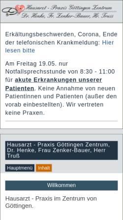 Vorschau der mobilen Webseite www.praxis-goettingen-zentrum.de, Hausarzt - Praxis Göttingen Zentrum