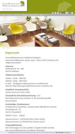 Vorschau der mobilen Webseite www.gesundheitszentrum-muelheim.de, Gesundheitszentrum Mülheim-Dümpten