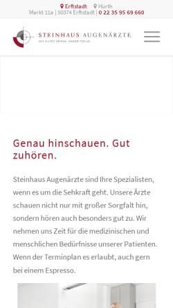 Vorschau der mobilen Webseite www.praxisdrsteinhaus.de, Steinhaus, Dr. med. Markus
