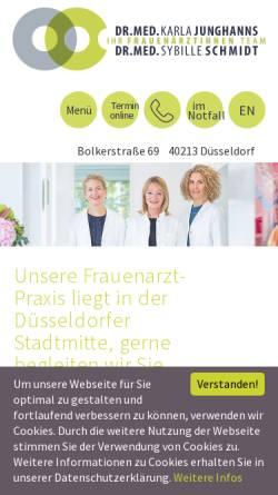 Vorschau der mobilen Webseite www.frauenarztpraxis-duesseldorf.de, Junghanns, Dr. med Karla