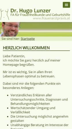 Vorschau der mobilen Webseite www.frauenarztpraxis.at, Lunzer, Dr. Hugo
