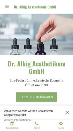 Vorschau der mobilen Webseite www.aesthetikum-singen.de, Dr. Albig Aesthetikum GmbH