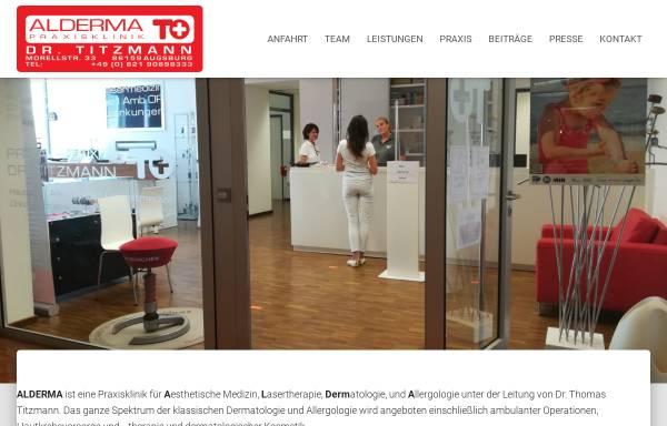 Vorschau von www.alderma.de, Alderma - Praxisklinik und Privatpraxis Dr. Titzmann