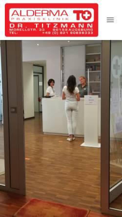 Vorschau der mobilen Webseite www.alderma.de, Alderma - Praxisklinik und Privatpraxis Dr. Titzmann