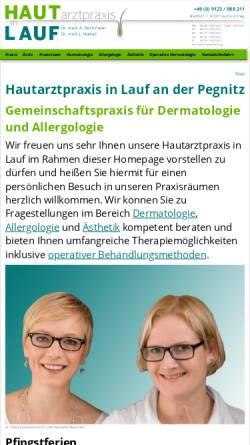 Vorschau der mobilen Webseite www.hautarzt-in-lauf.de, Hautarztpraxis in Lauf GbR