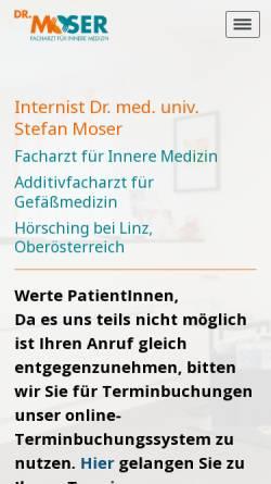 Vorschau der mobilen Webseite www.internist-moser.at, Moser, Dr. med. Stefan