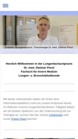 Vorschau der mobilen Webseite www.lungenfacharzt-penzl.de, Dr. Dietmar Penzl