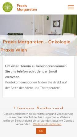 Vorschau der mobilen Webseite www.praxis-margareten.at, Onkologie Zentrum Wien