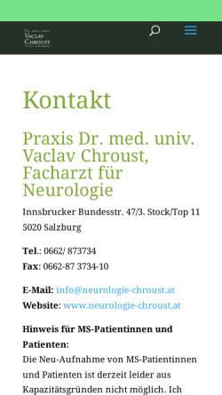 Vorschau der mobilen Webseite www.neurologie-chroust.at, Chroust, Dr. Vaclav