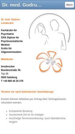 Vorschau der mobilen Webseite www.leindeckerpraxis.at, Leindecker, Dr. Gudrun