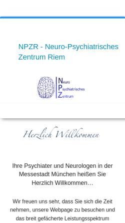Vorschau der mobilen Webseite www.npzr.de, NPZR - Neuro-Psychiatrisches Zentrum Riem