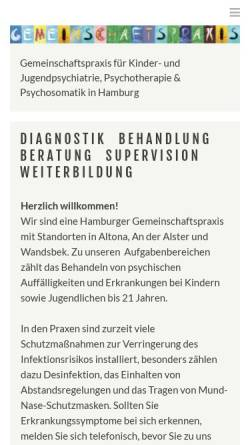 Vorschau der mobilen Webseite gemeinschaftspraxis-kjp.de, Gemeinschaftspraxis für Kinder- und Jugendpsychiatrie, Psychosomatik und Psychotherapie