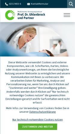 Vorschau der mobilen Webseite www.mvz-uhlenbrock.de, MVZ Prof. Dr. Uhlenbrock und Partner