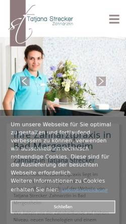 Vorschau der mobilen Webseite www.zahnarzt-bad-mergentheim.com, Zahnarztpraxis Tatjana Strecker
