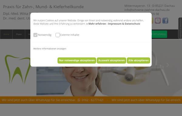 Vorschau von www.schoene-zaehne-dachau.de, Dipl.- Med. Witta Schulze, Zahnärztin Dr. med. dent. Uta Großerichter Zahnärztin MsC Kieferorthopädie