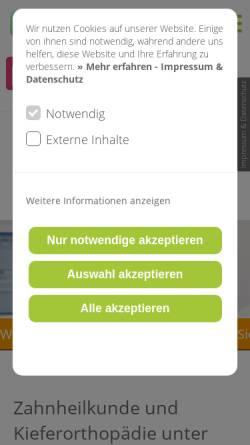 Vorschau der mobilen Webseite www.schoene-zaehne-dachau.de, Dipl.- Med. Witta Schulze, Zahnärztin Dr. med. dent. Uta Großerichter Zahnärztin MsC Kieferorthopädie