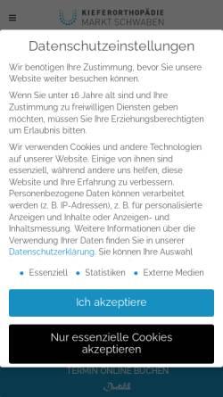 Vorschau der mobilen Webseite www.kfo-marktschwaben.de, Kieferorthopaedie Markt Schwaben - Dr. Evelyn Schmid