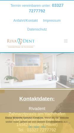 Vorschau der mobilen Webseite rivadent.de, Rivadent - Zahnarztpraxis am Yachthafen