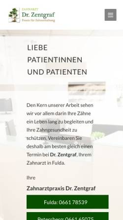 Vorschau der mobilen Webseite www.dr-zentgraf.de, Dr. med. dent. Christian Zentgraf, MSc Endodontie