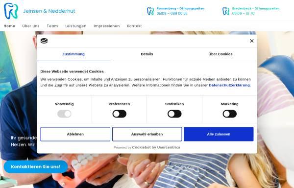 Vorschau von www.jeinsen-nedderhut.de, Zahnärztliche Berufsausübungsgemeinschaft Dr. Christian Jeinsen und Ingo Nedderhut