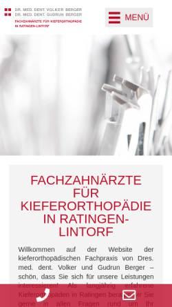 Vorschau der mobilen Webseite www.kieferorthopaedie-lintorf.de, Kieferorthopädie Dr. Berger