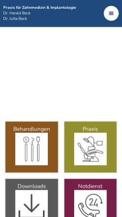 Vorschau der mobilen Webseite www.zahnarzt-bornheim.de, Dr. med .dent. Harald Beck und Dr. med. dent. Jutta Beck