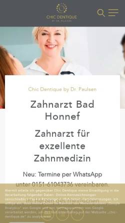 Vorschau der mobilen Webseite chic-dentique.de, Dr. med. dent. Natalie Paulsen