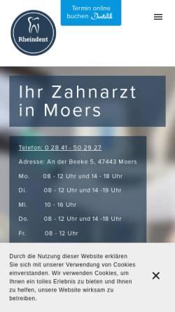 Vorschau der mobilen Webseite www.rheindent.com, Rheindent Zahnarztpraxis Javadi und Kollegen