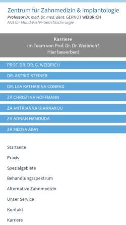 Vorschau der mobilen Webseite www.zentrum-fuer-zahnmedizin-und-implantologie-mainz.de, Prof. Dr. med. Dr. med. dent. Gernot Weibrich