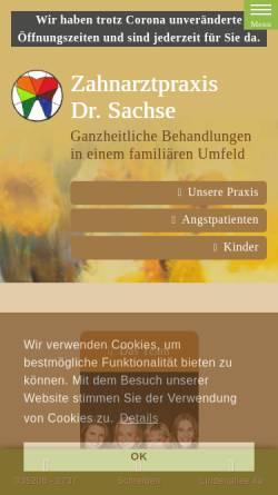 Vorschau der mobilen Webseite zahnarztpraxis-sachse.de, Zahnarztpraxis Dr. Christiane Sachse