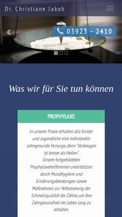 Vorschau der mobilen Webseite www.zahnarzt-jakob-zerbst.de, Dr. dent. Christiane Jakob