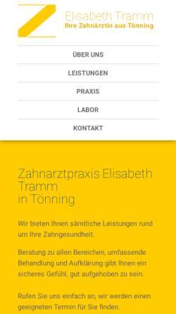Vorschau der mobilen Webseite www.zahnarzt-toenning.de, Zahnarztpraxis Elisabeth Tramm