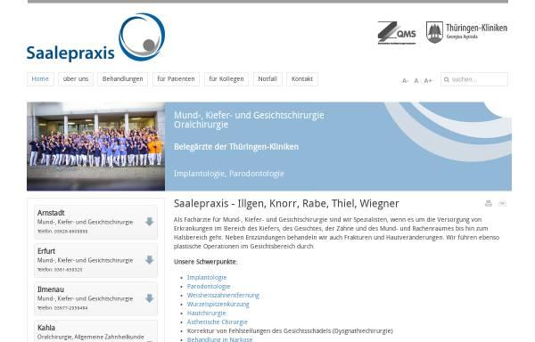 Vorschau von www.saalepraxis.de, Saalepraxis - Gemeinschaftspraxis Knorr, Rabe,Wiegner